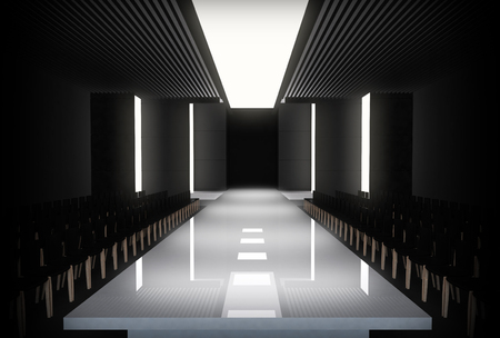 3D illustration of fashion empty runway. before a fashion show 写真素材