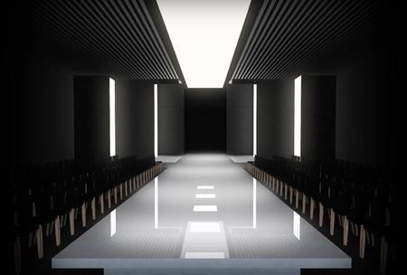 3D illustration of fashion empty runway. before a fashion show Archivio Fotografico