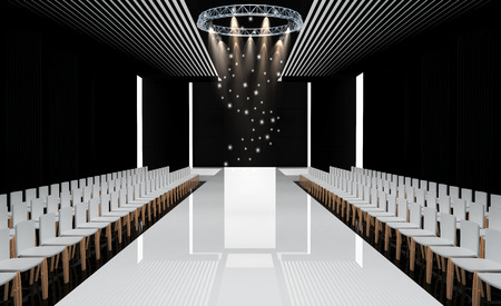 fashion: 3D illustration of fashion empty runway. before a fashion show Stock Photo