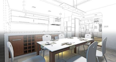 sketch drawing: sketch design of dining ,3dwireframe render Stock Photo