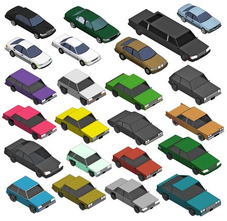 cabrio: Set of Various Isolated 3d Cars