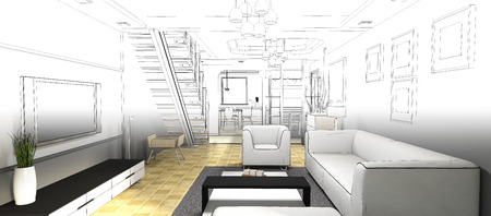 furniture design: sketch design of living ,3dwire frame render