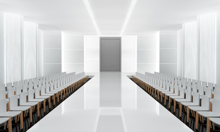 fashion week: 3D illustration of fashion empty runway. before a fashion show Stock Photo