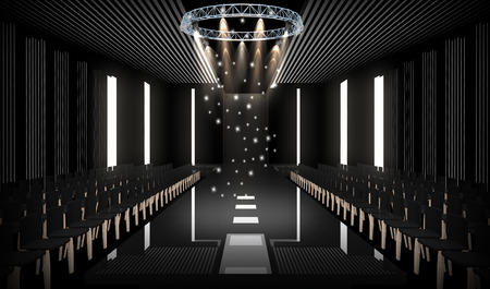 spot light: 3D illustration of fashion empty runway with spot light. before a fashion show