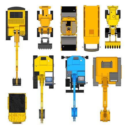 techology: set of a building machines Top view