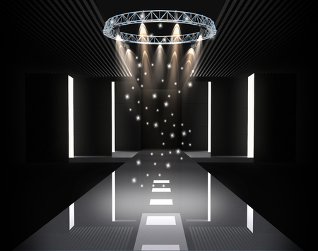 beauty spot: 3D illustration of fashion empty runway with spot light. before a fashion show