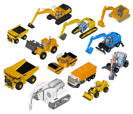 set of a building machines isometric