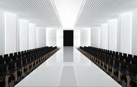 スポット ライトとファッション空滑走路の 3 D イラストレーション。ファッションショーの前に