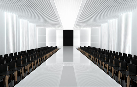fashion show: 3D illustration of fashion empty runway with spot light. before a fashion show