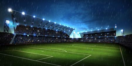 cancha de futbol: luces en la noche y el estadio. El deporte de fondo. 3d