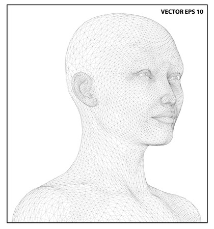 Vector concept or conceptual 3D wire frame human female head isolated on white background Illustration