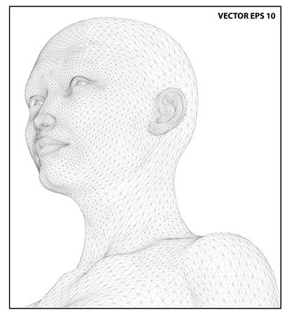 cabeza de mujer: Concepto del vector o conceptual marco de alambre 3D mujer cabeza humana aislada en el fondo blanco Vectores