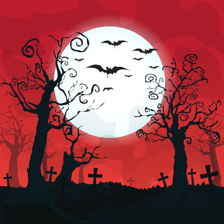 nude outdoors: Halloween design background with spooky graveyard, naked trees, graves and bats and Copyspace