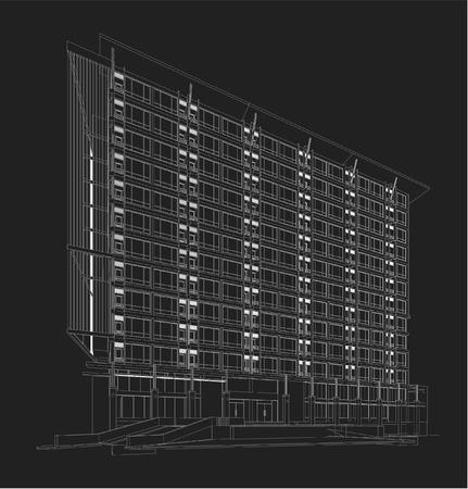 Perspective 3D übertragen Von Gebäude Drahtmodell. Lizenzfrei ...