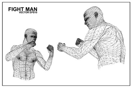 face off: Vector concept 3D wireframe Cartoon fighter male Illustration