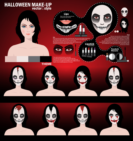 scary girl: Infographic halloween make up,woman in day of the dead mask face art. Halloween face art with cosmetic on red background