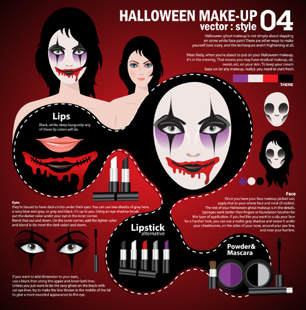 make up face: Infographic halloween make up,woman in day of the dead mask face art. Halloween face art with cosmetic on red background
