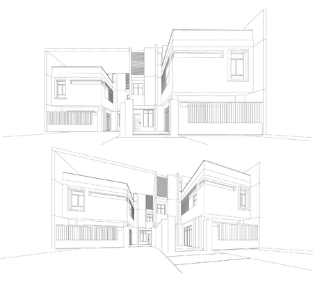 rural area: Perspective 3D render of building wireframe.