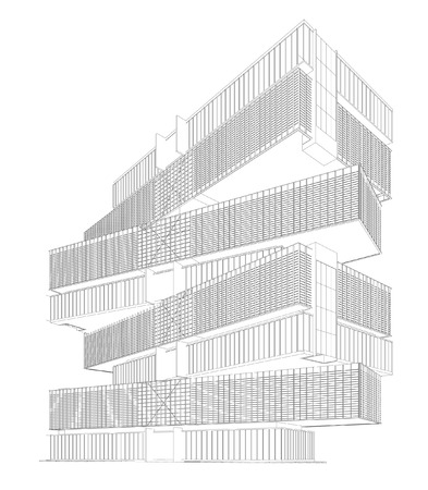 condominium: 3d wireframe building