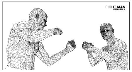 sport mats: Vector concept 3D wireframe Cartoon fighter male Illustration