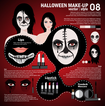 make up woman: Infographic halloween make up,woman in day of the dead mask face art. Halloween face art with cosmetic on red background