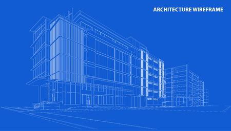 Perspective 3D render of building wireframe - Vector illustration Stock Vector - 46171795