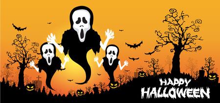 Antecedentes de Halloween con fantasmas, calabazas en los murciélagos hierba y la luna en la oscuridad