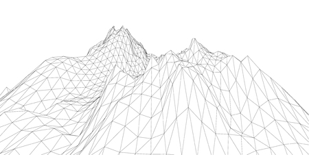 the contour: 3D wireframe of contour swirl Illustration