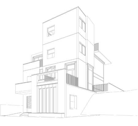 perspective: Perspective 3d Wireframe of Building Illustration