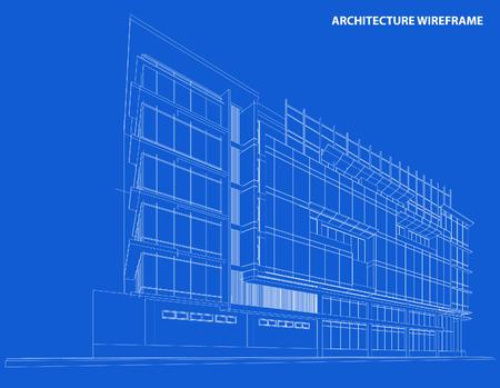 sky scraper: Perspective 3d Wireframe of Building Illustration