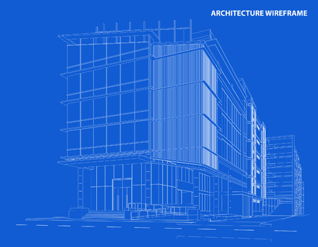 scraper: Perspective 3d Wireframe of Building Illustration