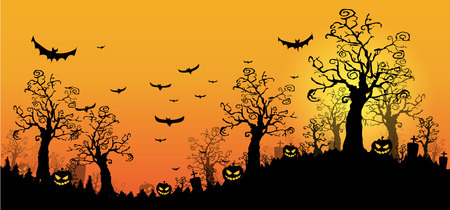 nude outdoors: Halloween design background with spooky graveyard, naked trees and Copyspace. Halloween illustration