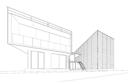 sketch drawing: Perspective 3D render of building wireframe - Vector illustration