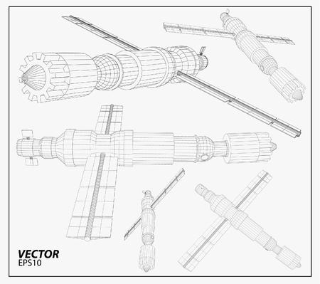 satellite transmitter: Satellite communications. wireframe vector Illustration