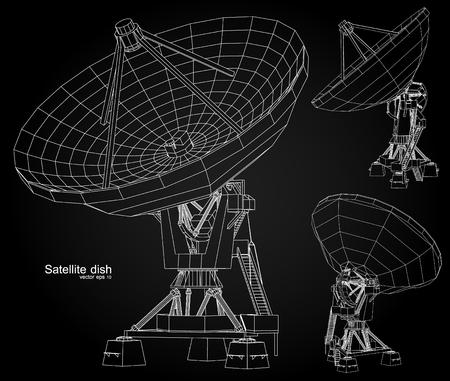 Satellite dish , Wireframe vector illustration Vettoriali