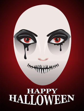 ghost face: Woman in day of the dead mask Ghost face art.And Dark Horror Background For Halloween Concept.