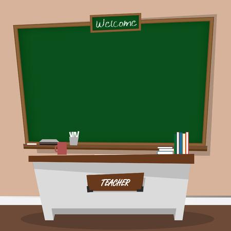 salon de clases: Ilustración vectorial de pizarra clásica en el aula