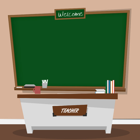 teacher student: Vector illustration of classic chalkboard in classroom