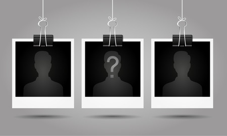 Silhouette of anonymous man with question mark on blank photo - suspect concept Imagens - 48842545