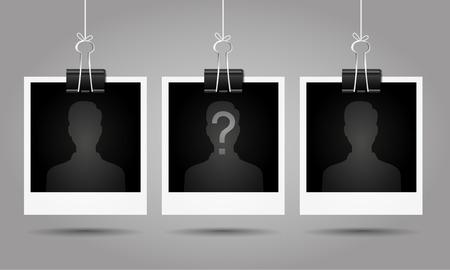 Silueta de hombre anónimo con signo de interrogación en la foto en blanco - concepto sospechoso