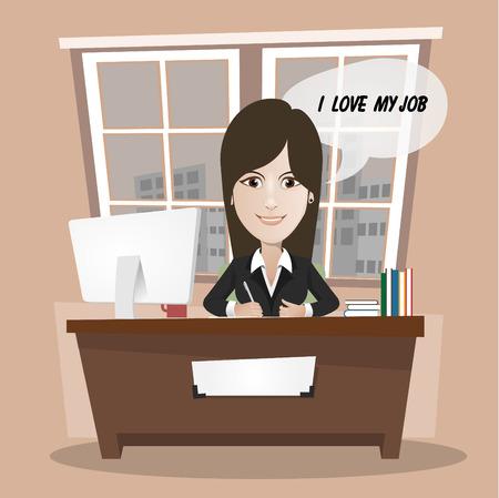 finestra: Giovane donna in ufficio