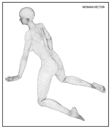 nudity: A computer generated rendering of a young naked woman 3d model Illustration