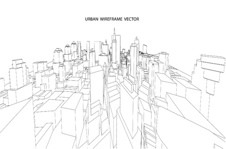 city view: City view. Wireframe