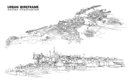 City view. Wireframe Imagens - 55422945