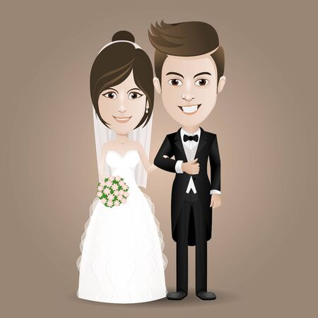 wedding bride: romantic wedding - couple standing and holding hands