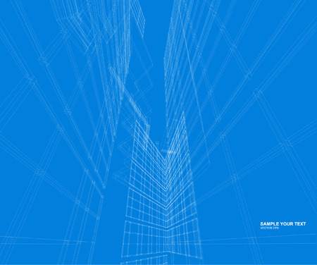 architecture design: Abstract design. Modern architecture wireframe space Illustration