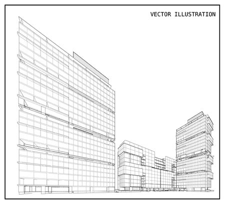 facade: 3d building of wireframe Illustration