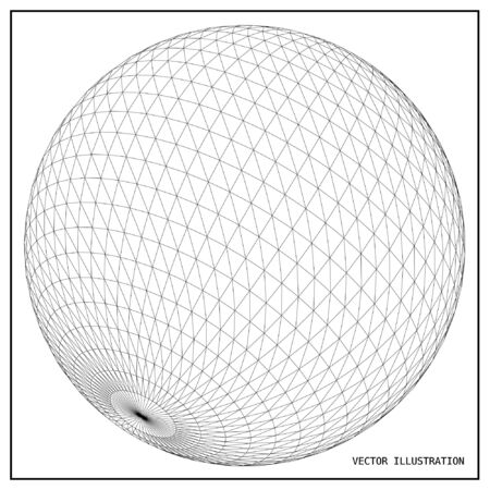 mesh: Wireframe mesh polygonal element. Sphere 3d.