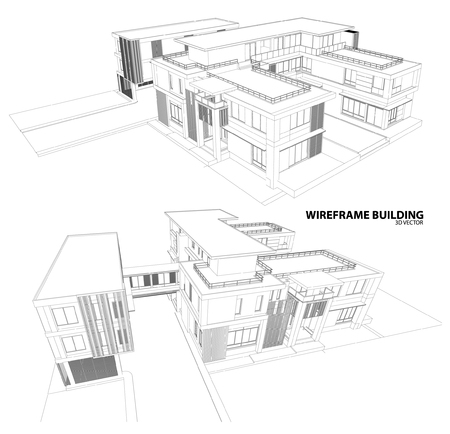 modern apartment: Perspective 3D render of building wireframe