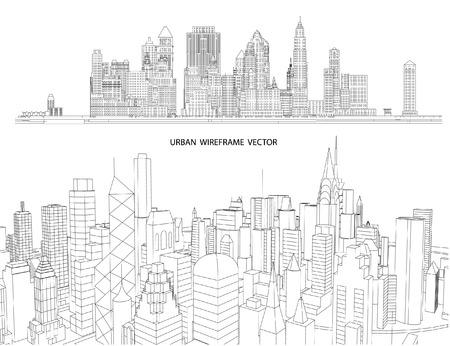 관점 3D 건물 와이어 프레임 렌더링